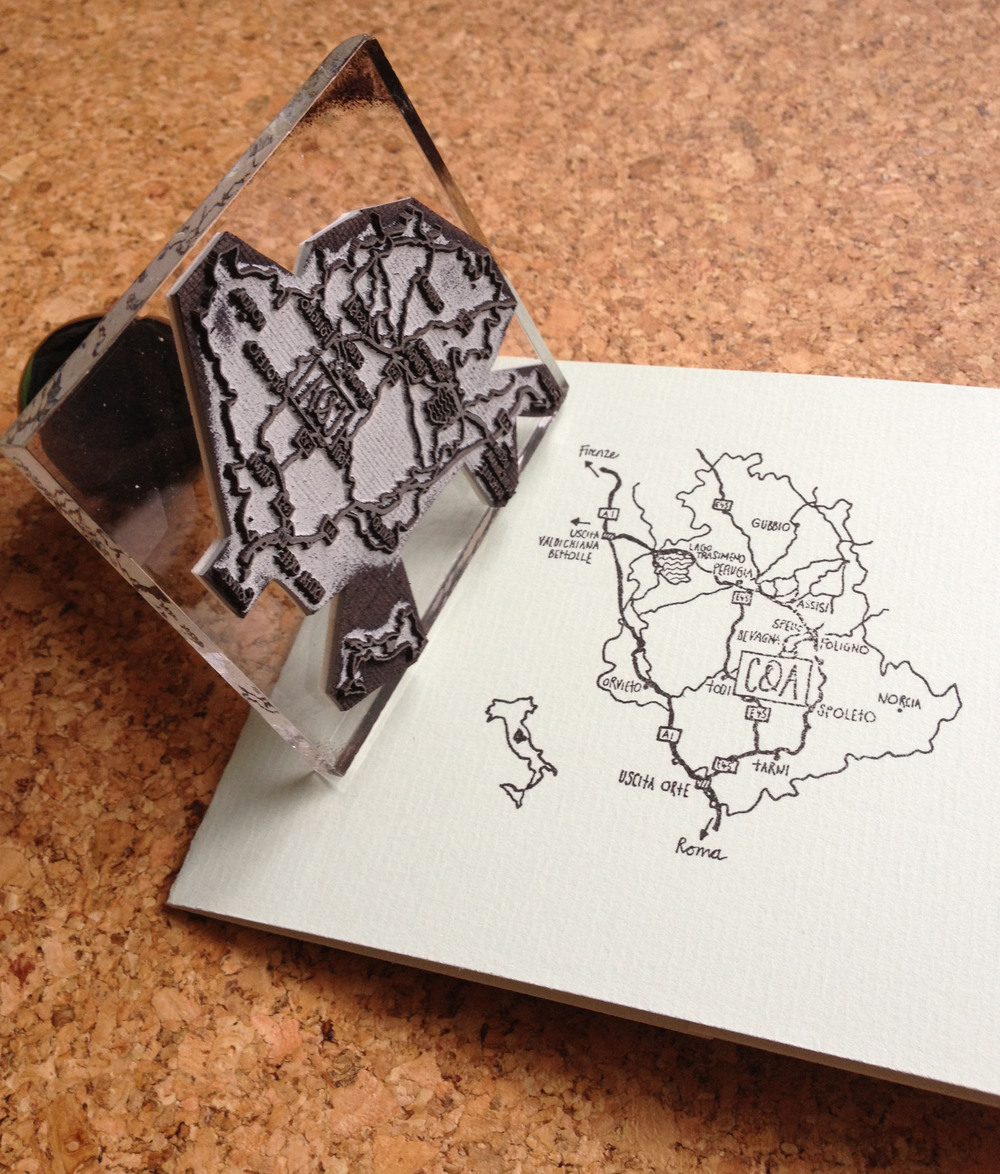 Map - hand stamped on the reverse of the main invite.