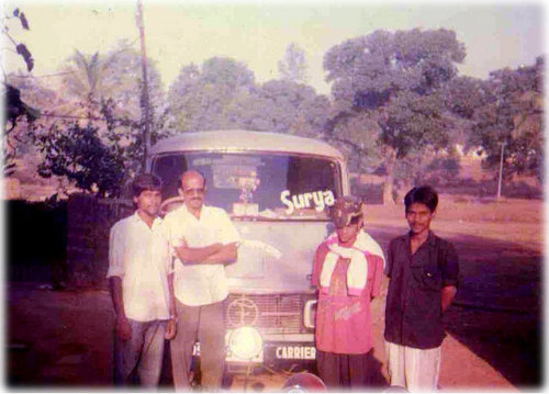 Sunil Khedeker ( 2nd from Left) along with the first distribution team.