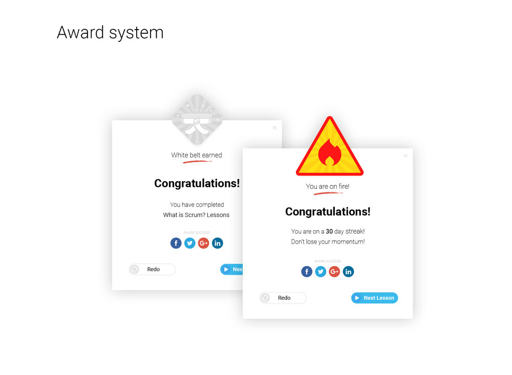 VivifyScrum EDU Award system UI/UX