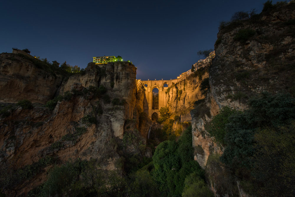 The Bridge at Ronda, shot at dusk.