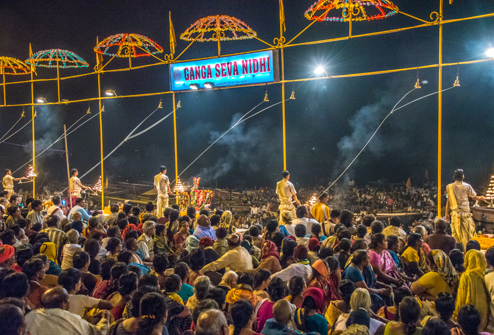 The nightly show in Varanasi is performed by priests to a set routine.