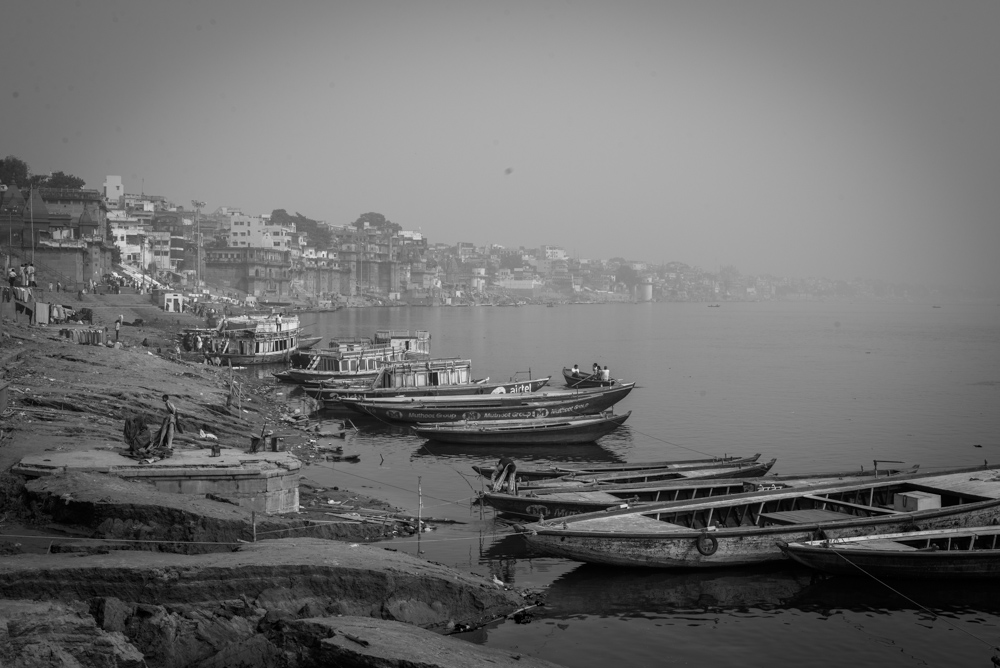 Black and white image of Varanasi