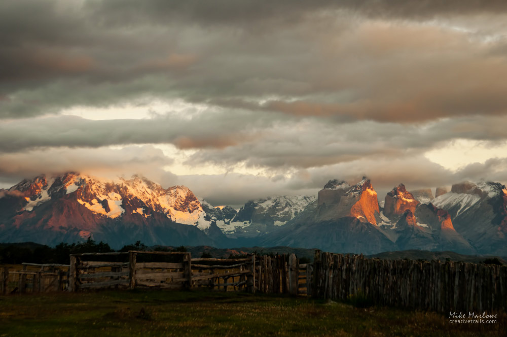 Mountains of Torres Del Paine in Patagonia. This surreal shot was taken at first light in the national park, Chile.