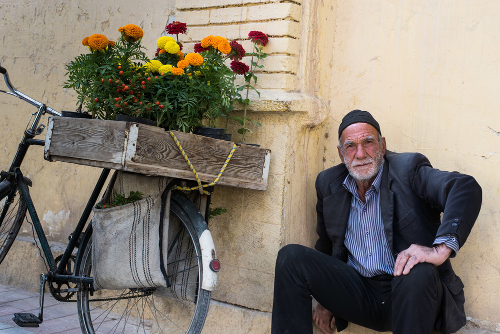 A flower seller in the Armenian quarter of Esphahan, Iran. Older people have led a life witnessing continual change and upheaval. Many have a dignified stoicism that only comes with experience.