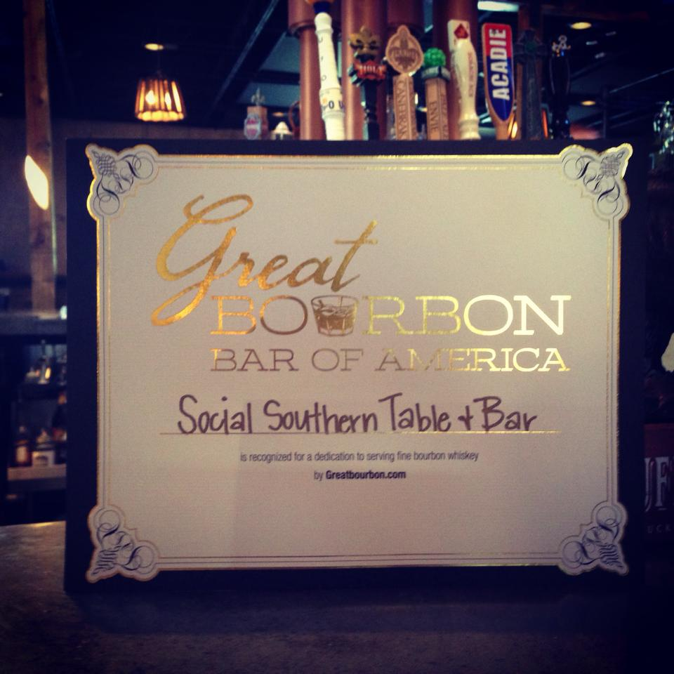 Social Southern Table and Bar was named Great Bourbon Bar of America by GreatBourbon.com