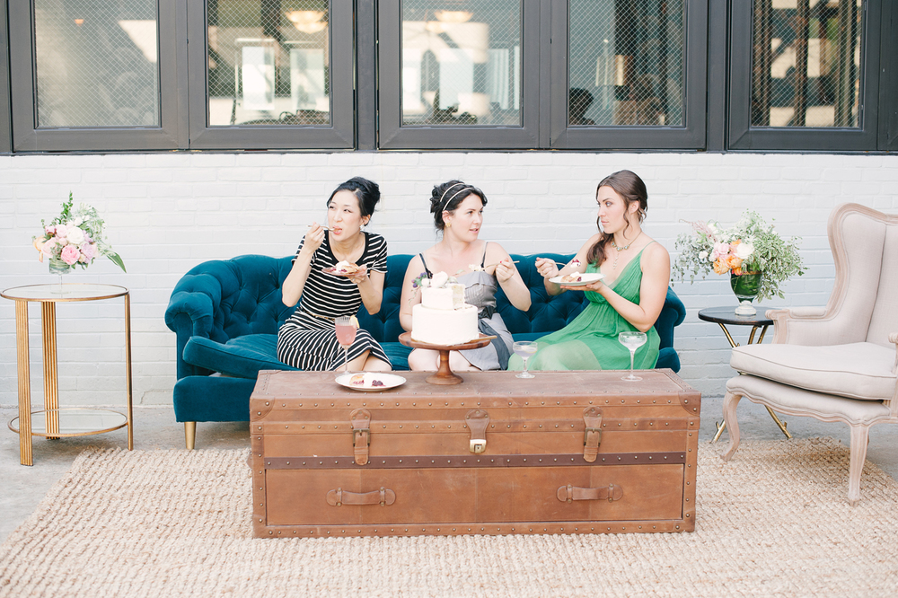 Insider secret: yep, that's me, and I'm with Patricia (stripes) who did all the stationary for the shoot, and Lindsay Rae (green) who did all the flowers for the shoot!