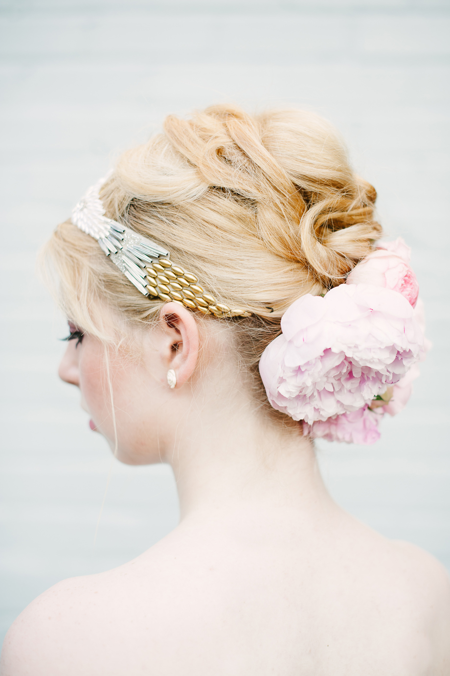 pearl gold silver beaded headpiece peonies hushed commotion