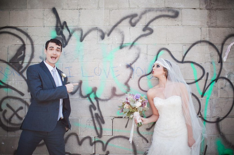 brooklyn graffiti wedding lace tulle veil hushed commotion