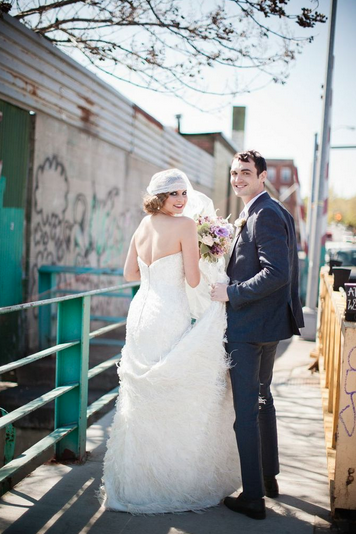brooklyn wedding long tulle veil hushed commotion