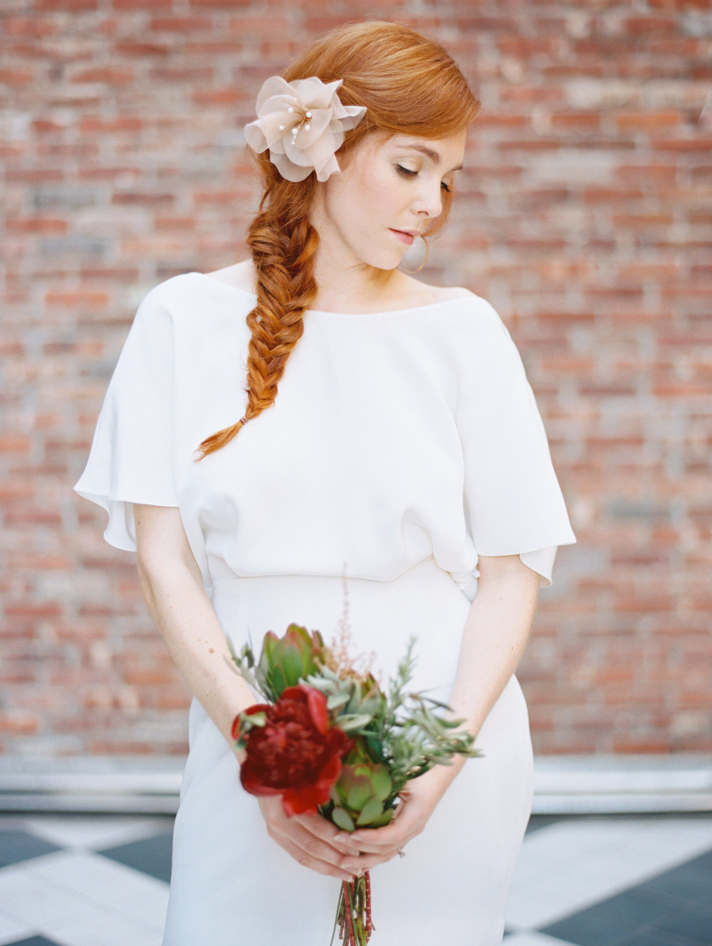 whymsical blush hair flower pearl hushed commotion fish tail braid