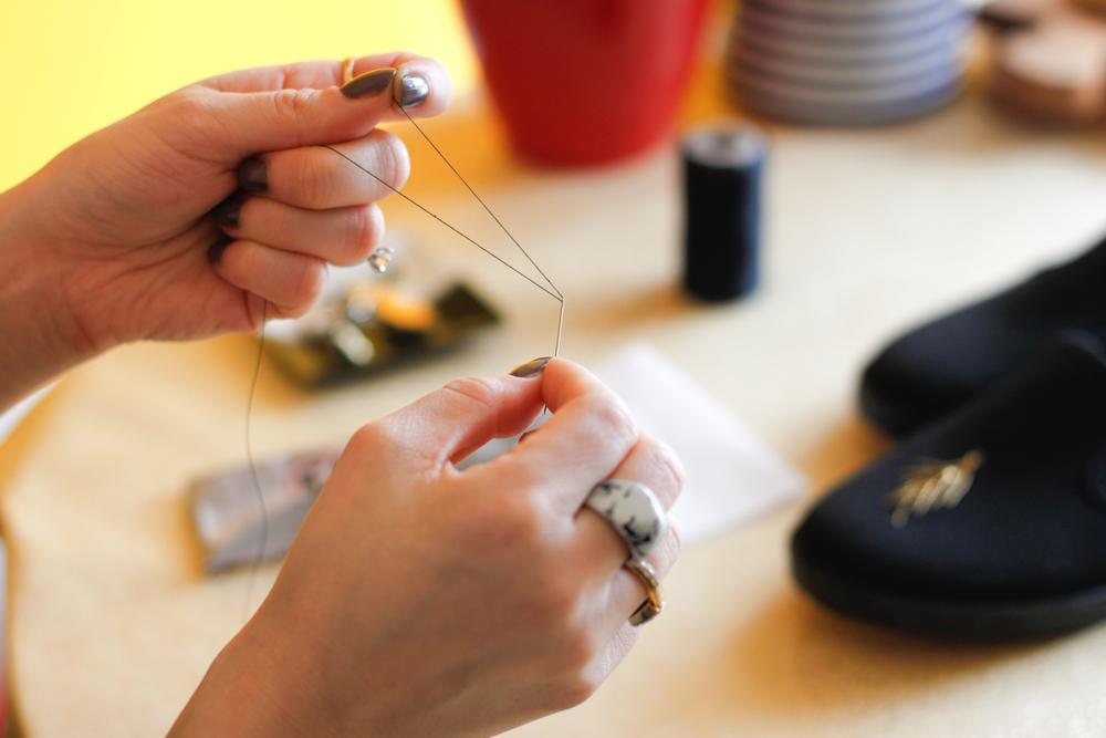DIY sneakers needle threading