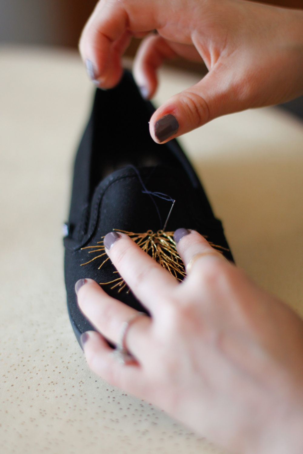 DIY sneakers gold branches