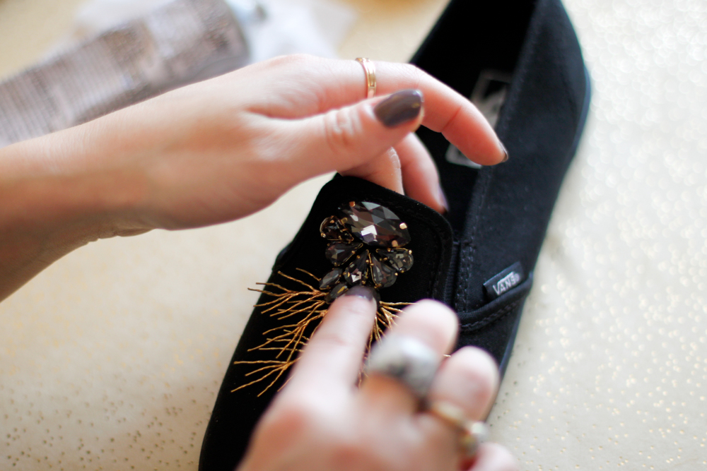 DIY sneakers crystal motif
