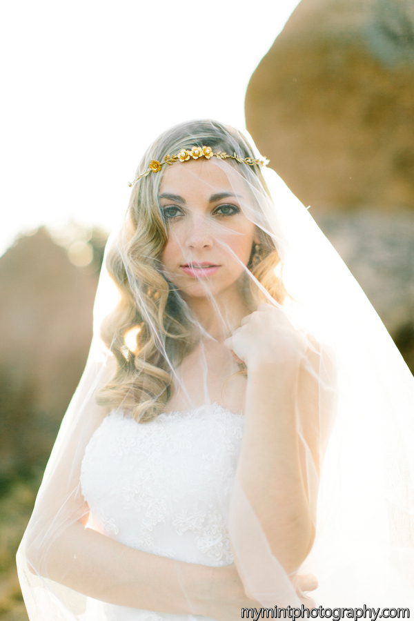 gold flower crown with veil by hushed commotion