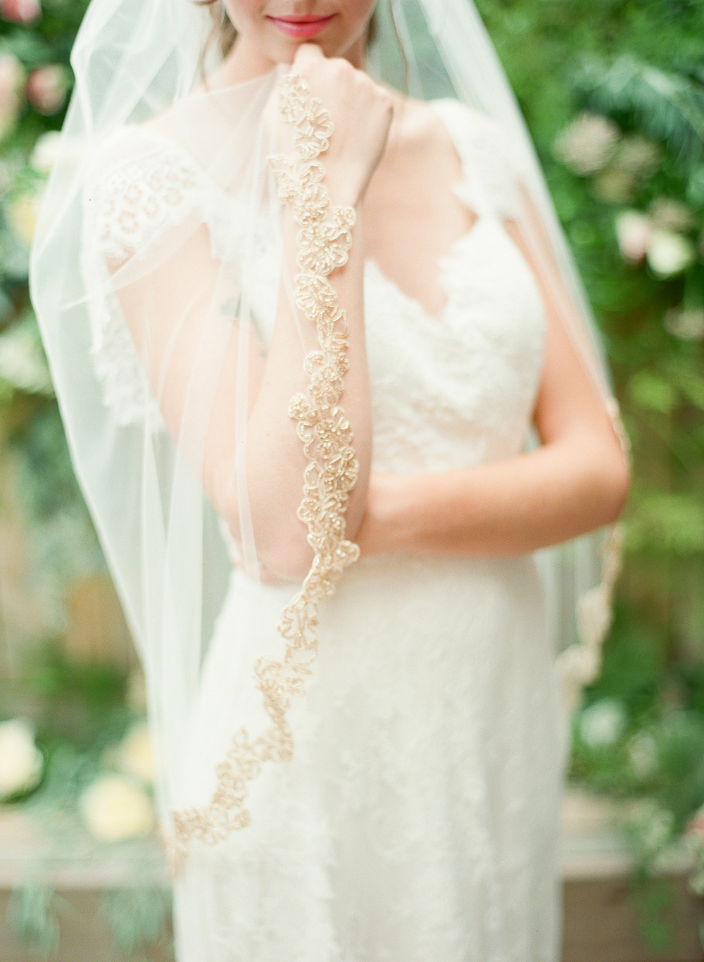 rose gold beaded veil detail by hushed commotion