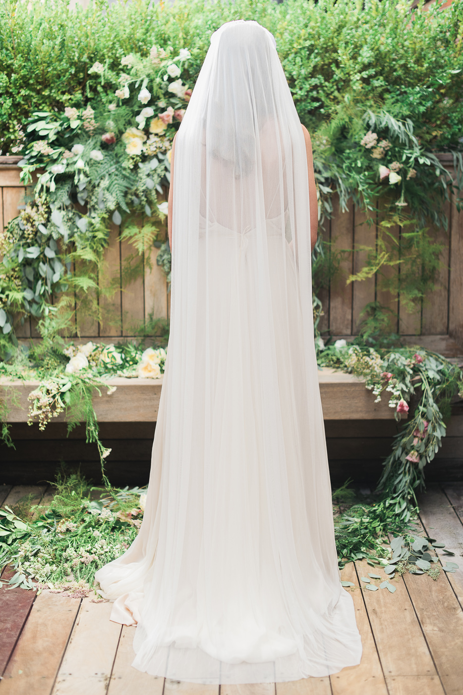 silk tulle veil back detail by hushed commotion