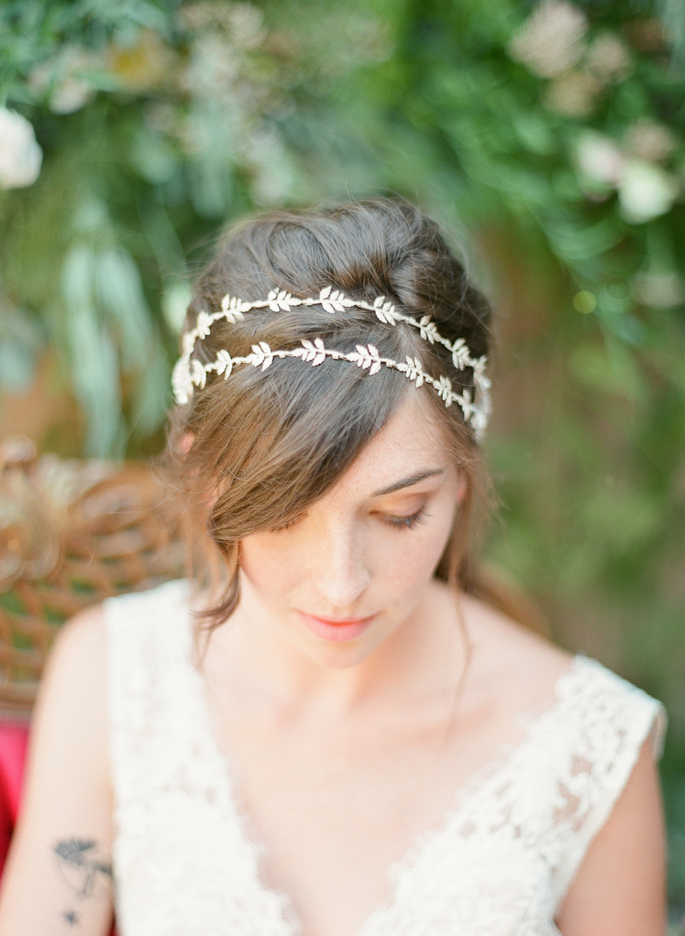 silver lead double headband with crystals by hushed commotion