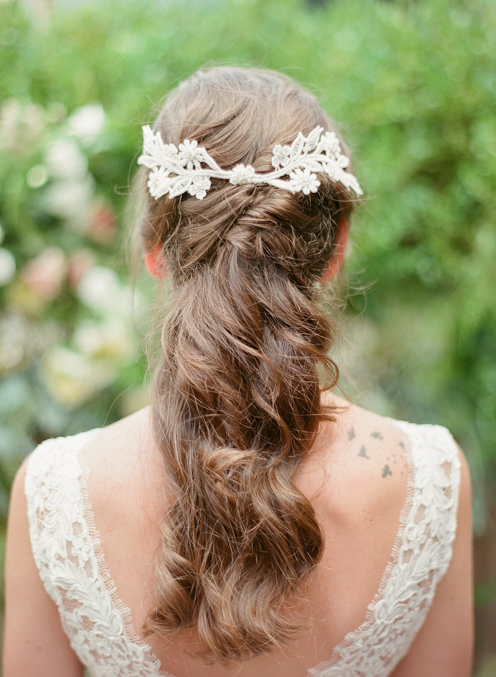 ivory embroidery head piece opal pearl crystal back detail by hushed commotion