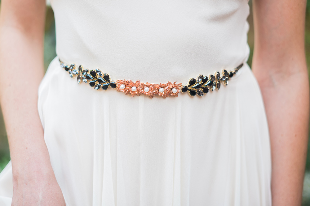 rose gold flowers and black crystals wedding belt hushed commotion