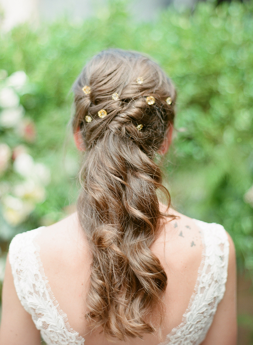 gold flower hair pins by hushed commotion