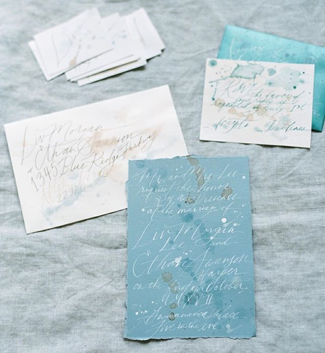 "Tell your friends you're saying ""I do"" with an invitation suite as your something blue 💙 ⠀⠀⠀⠀⠀⠀⠀⠀⠀ Photography: @kateignatowskiphoto Planning and styling: @claireduranweddingsevents Calligraphy: @quillandco Napkins and plates: @shopcremedelacremeboutique Location: Swannanoa Palace @visitvirginia ⠀⠀⠀⠀⠀⠀⠀⠀⠀ ⠀⠀⠀⠀⠀⠀⠀⠀⠀ #hushedcommotion #hushedcommotionbride #weddingplanning #imgettingmarried #engagedaf #wedspo #weddinginspo #weddingideas #stationery #weddinginvitation #invitationsuite #somethingblue #papergoods #weddingpaper #weddinggoods #weddingstyle #weddinglook #weddingdesign #weddingjewelery #weddingjewels #calligraphy #cursive #watercolor #weddingaccessory #bridalstyle #bridetobe #brideandgroom #brideandbride #brides"