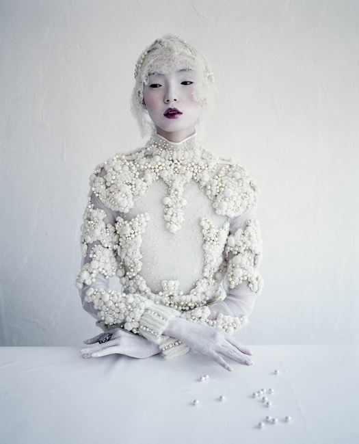 Pearlescent Xiao Wen in Givenchy Haute Couture Fall/Winter 2012 for W Magazine, March 2012. Photographed by Tim Walker.