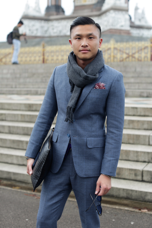 Street Style LCM AW14 'Tailored Blues Hues' (GQ China Senior Fashion Editor - Jacky Tam) - 01.jpg