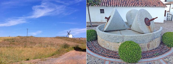Tierras de Castilla (iz), Estas son antiguas piezas de un molino para extraer el aceite de oliva de las aceitunas.