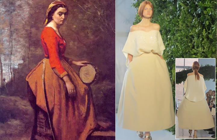 La gitana con pandereta un cuadro del pintor francés Corot inspiró a  Josep Font director creativo de la casa Del Pozo para su colección de  Primavera verano 2014.