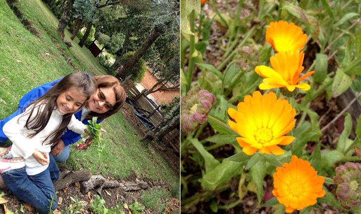 Victoria y la tía Cookie en la Huerta orgánica.