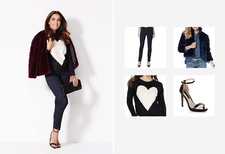 "GIULIANA LUXE DENIM SKINNY JEAN NIKKI POULOS ""VICTORIA"" FAUX FUR JACKET FAITH AND ZOE HEART SWEATER STEVEN BY STEVE MADDEN RYKIE STRAP SANDAL"