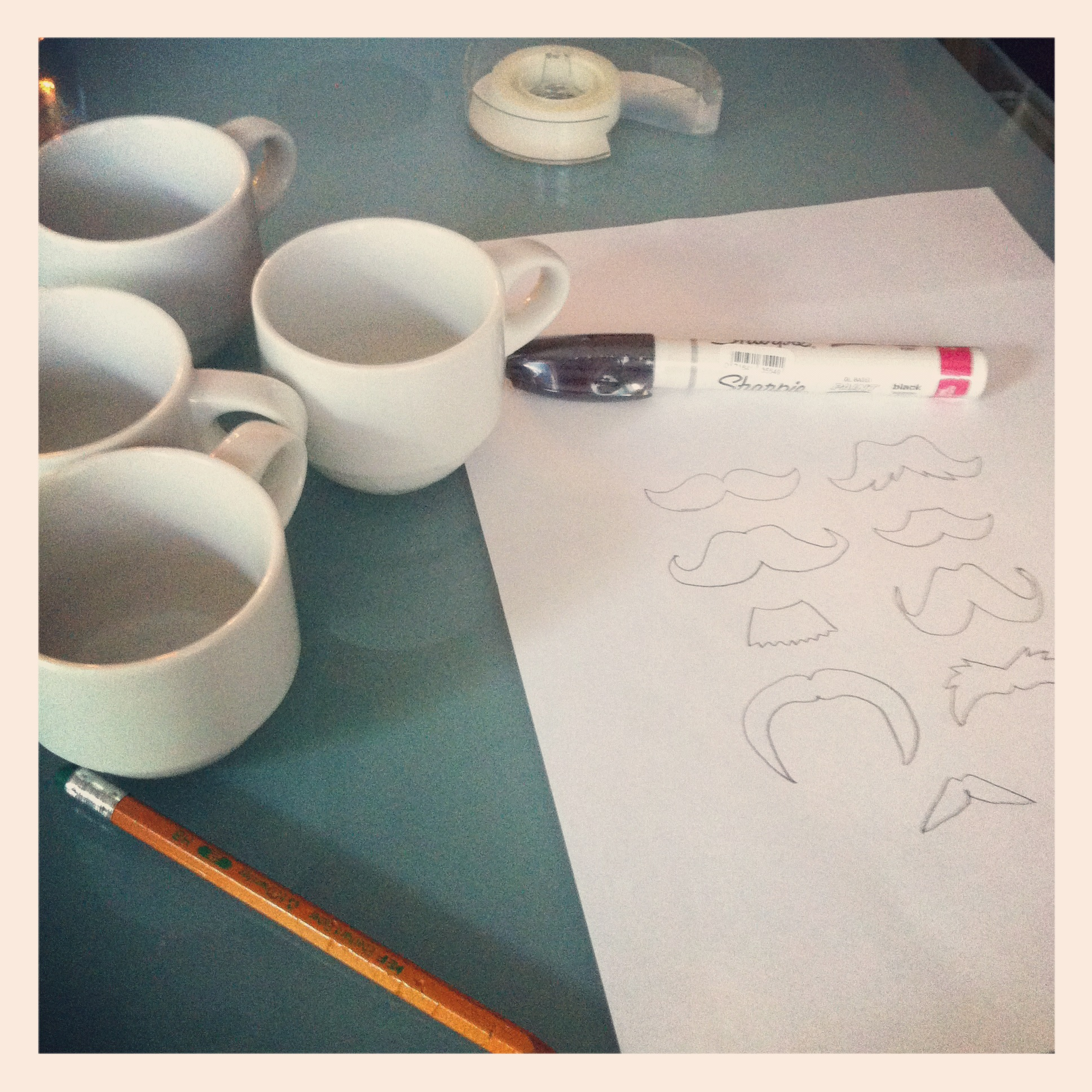 diy mustache mug supplies