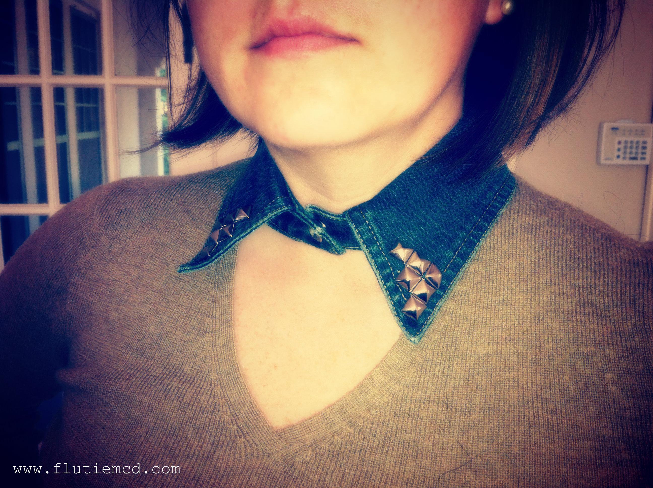 denim silver stud collar