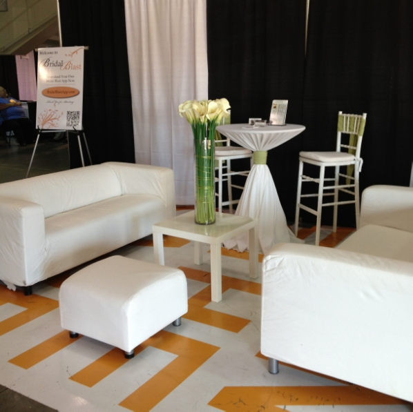 The Bridal Blast App booth and cyber lounge at the recent Bridal Blast.