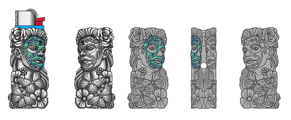 Sugar Skull Lighter Case