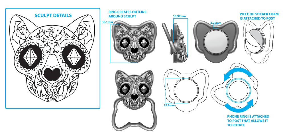 Cat Skull Cell Phone Ring