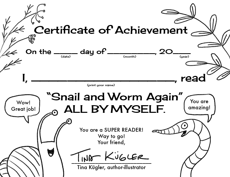 Printable reading certificate from   Snail and Worm Again