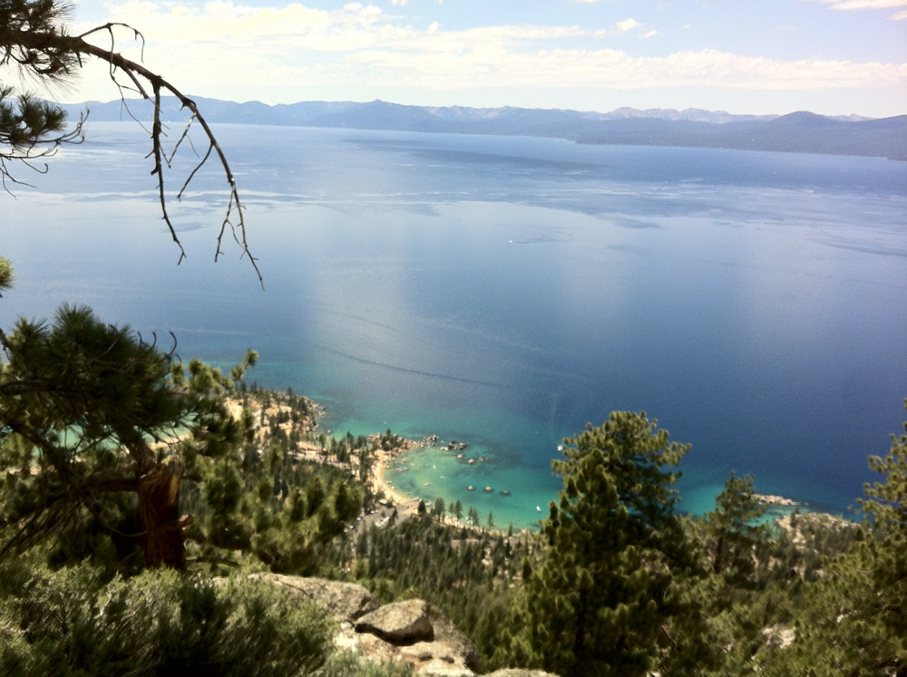 Lake Tahoe as seen from the historical Flume Trail - Nate and I rode our mountain bikes along this lovely trail!