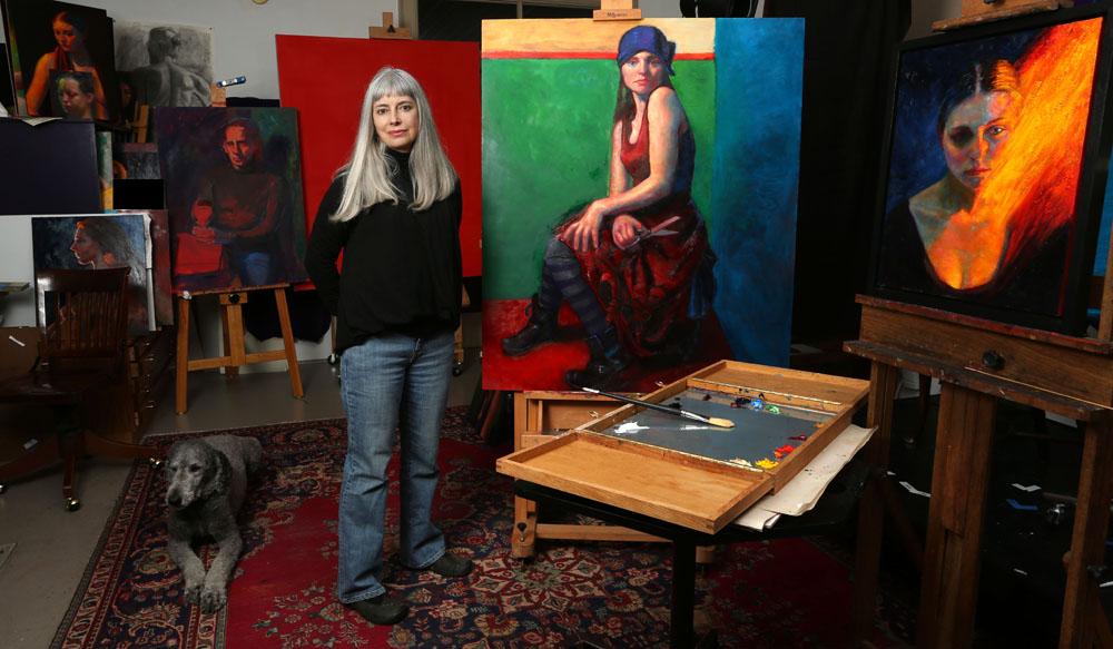 Croton-on-Hudson, New York artist, Eddi Flemming in her studio.
