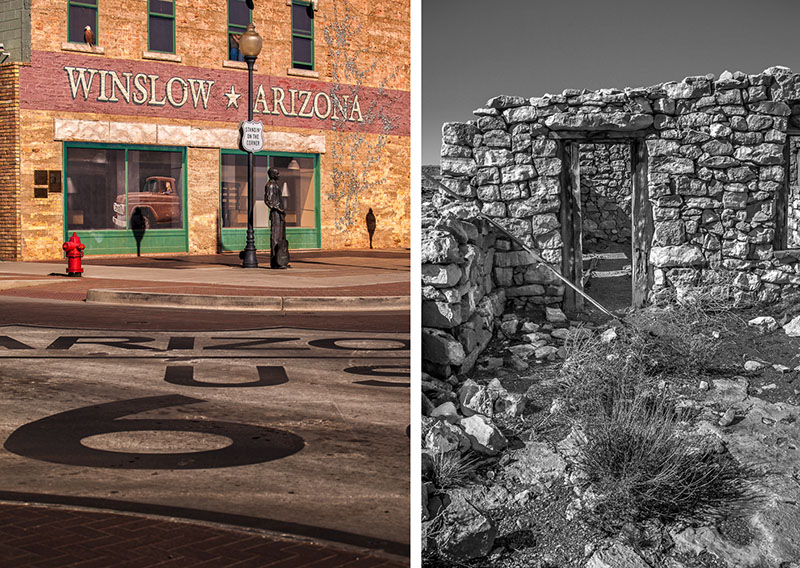 Left: Standing on the corner in Winslow Arizona. The classic Route 66 emblem in the intersection gives this a lot of interest. I shot this with my 24-70mm and finished it in Lightroom.   Right: Stone structures at Two Guns. The textures here make some very textured BW images. I processed these in NIK Siver Efex.