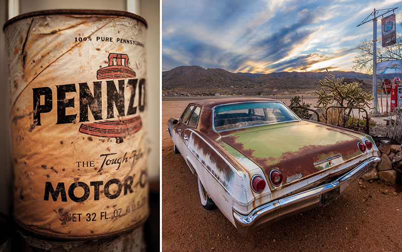 Left : Detail of weathered oil can on an outside rack. I took this with my 35mm prime at f2.8 for a shallow depth of field and finished it in Lightroom with a slight vignette.    Right:  I like the composition of this old Chevrolet looking across the highway to the m  ountains and the setting sun. I shot this as a 7 exposure HDR with my Canon 17-40mm at a wide view. I processed this in Photomatix Pro, finishing it in Lightroom and NIK Color Efex.