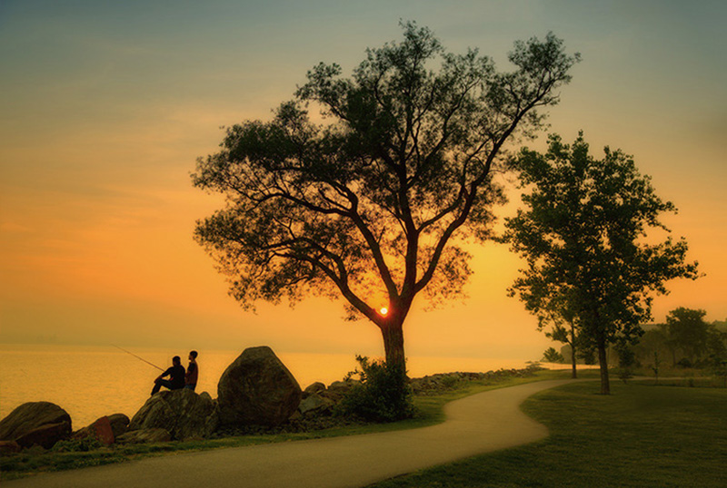 """Sunset in the park with Rick"" - taken in my ""backyard"" along the Hudson River."