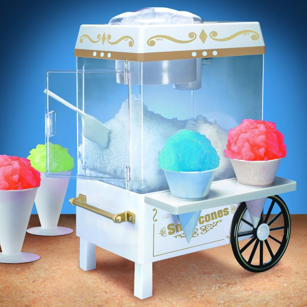 Snow Cone maker, along with enough cups to enable a 100 person party  bash. Contact Hannah and Koko Relleve