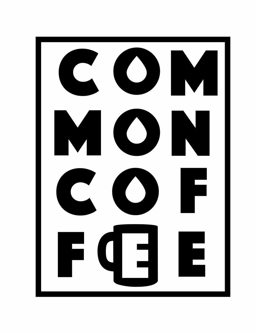 A logo to be used as a stamp for coffee bags that are distributed through our church's food co-op, The Common Cupboard.