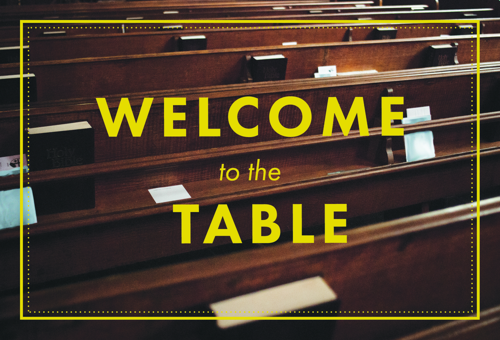 The front side of a 'Welcome Card' to go in the pews for visitors to put their information on.