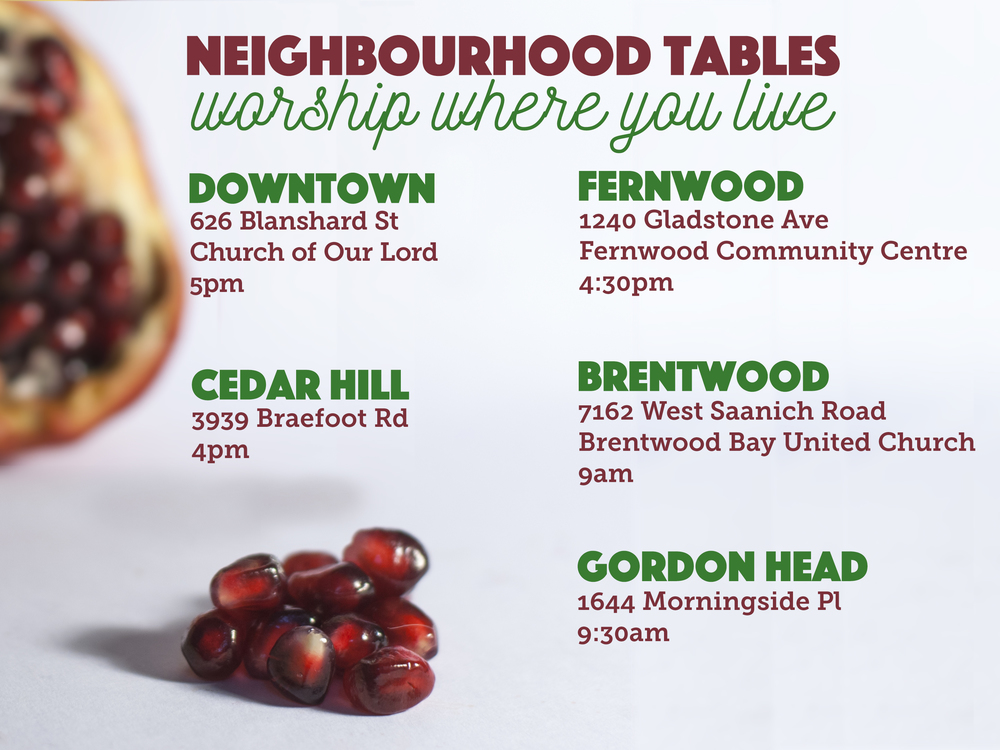 A post for the website and email newsletters to communicate the week's upcoming Neighborhood Table locations and times.