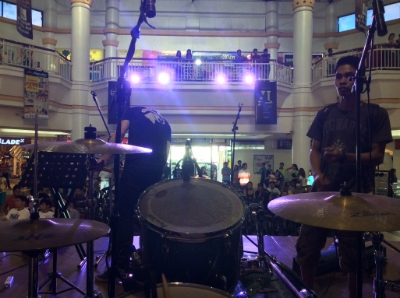 My view from the stage before a street ministry event in a mall.