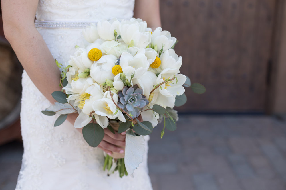 White Peonies, Tulips, & Lisianthus oh my!