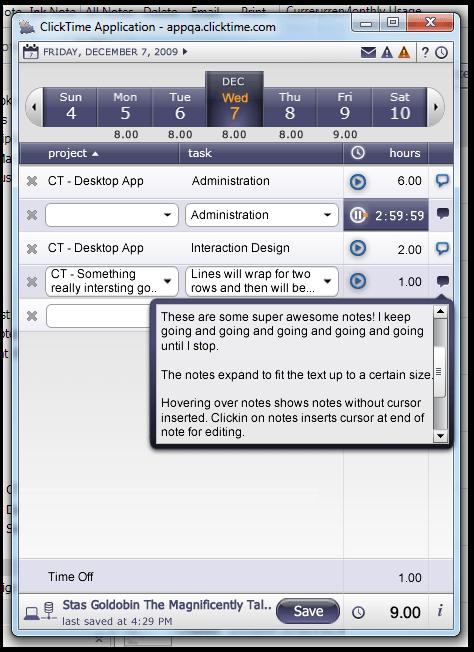 ClickTime Desktop App Concept
