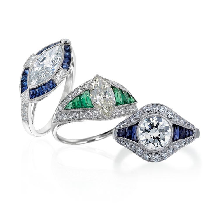 combo emerald and sapphire deco style rings with rounds and marquise .jpg